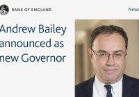 ANDREW BAILEY NUOVO GOVERNATORE DELLA BANK OF ENGLAND